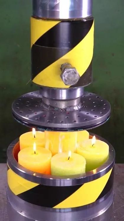 How to turn candles to worms with Hydraulic Press